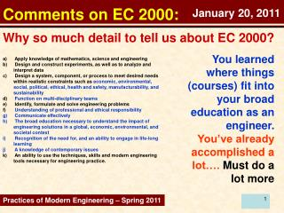 Comments on EC 2000: