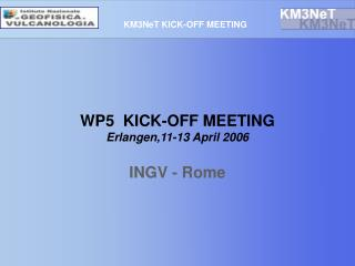 WP5  KICK-OFF MEETING Erlangen,11-13 April 2006 INGV - Rome