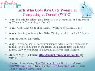 Girls Who Code (GWC) & Women in Computing at Cornell (WICC)