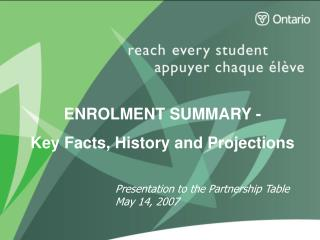 ENROLMENT SUMMARY - Key Facts, History and Projections