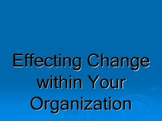 Effecting Change within Your Organization