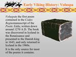 Early Viking History: Voluspa