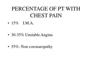 PERCENTAGE OF PT WITH CHEST PAIN