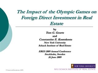 The Impact of the Olympic Games on Foreign Direct Investment in Real Estate