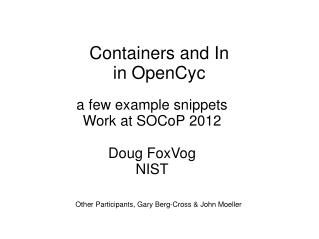 Containers and In in OpenCyc