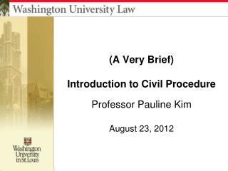 (A Very Brief) Introduction to Civil Procedure