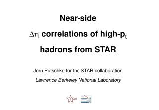Near-side   correlations of high-p t hadrons from STAR Jörn Putschke for the STAR collaboration