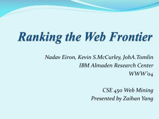 Ranking the Web Frontier