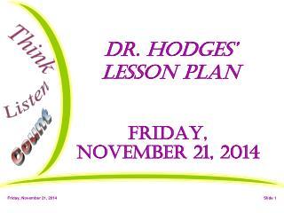 Dr. Hodges' Lesson Plan