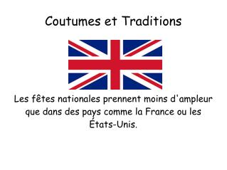 Coutumes et Traditions