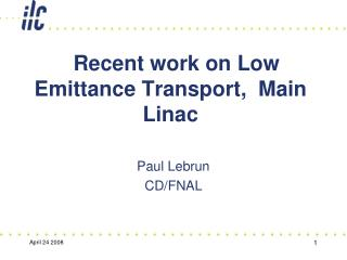 Recent work on Low Emittance Transport, Main Linac