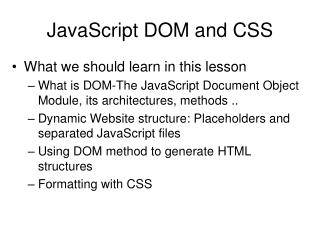 JavaScript DOM and CSS