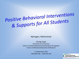 Positive Behavioral Interventions & Supports for All Students