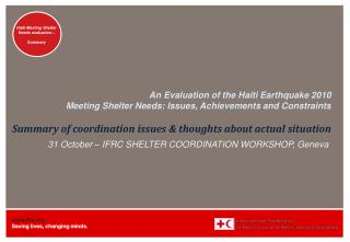 31 October – IFRC SHELTER COORDINATION WORKSHOP, Geneva
