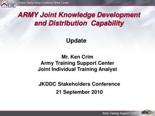 ARMY Joint Knowledge Development and Distribution  Capability