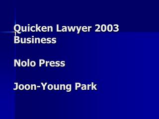Quicken Lawyer 2003 Business Nolo Press Joon-Young Park