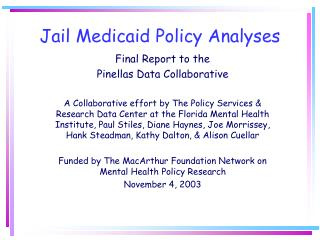 Jail Medicaid Policy Analyses