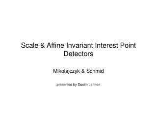 Scale & Affine Invariant Interest Point Detectors