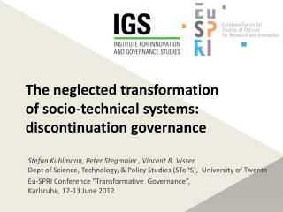 The neglected transformation of socio‐technical systems: discontinuation governance