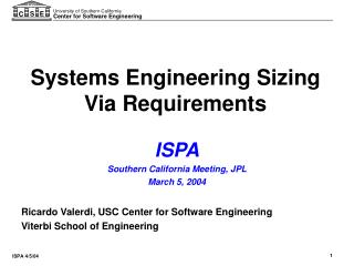 Systems Engineering Sizing Via Requirements