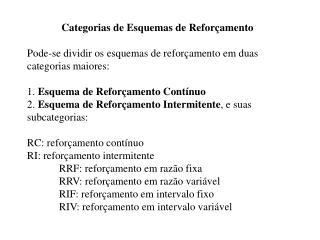 Categorias de Esquemas de Reforçamento