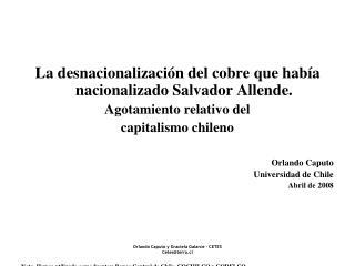Orlando Caputo y Graciela Galarce - CETES Cetes@terra.cl