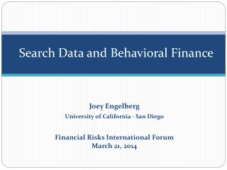 Search Data and Behavioral Finance