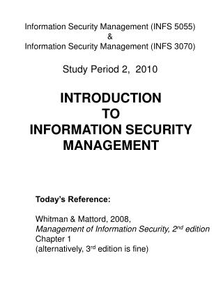 INTRODUCTION  TO  INFORMATION SECURITY MANAGEMENT