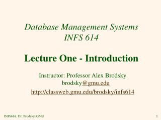 Database Management Systems INFS 614