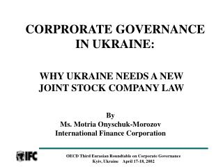 CORPRORATE GOVERNANCE IN UKRAINE: