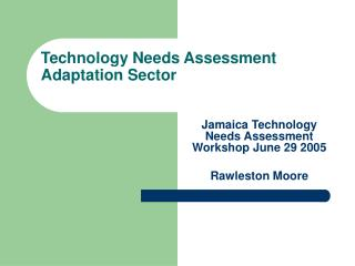 Technology Needs Assessment Adaptation Sector