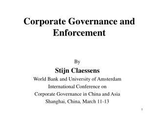 Corporate Governance and Enforcement