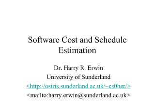 Software Cost and Schedule Estimation