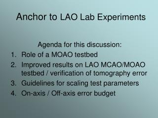 Anchor to LAO Lab Experiments