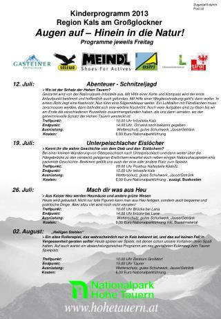 Kinderprogramm 2013 Region Kals am Großglockner Augen auf – Hinein in die Natur!
