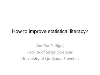 How to improve statistical literacy ?