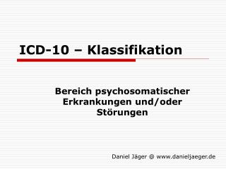 ICD-10 – Klassifikation