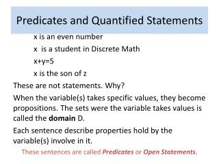 Predicates and Quantified Statements