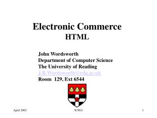 Electronic Commerce HTML