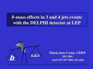 b -mass effects in 3 and 4 jets events  with the DELPHI detector at LEP