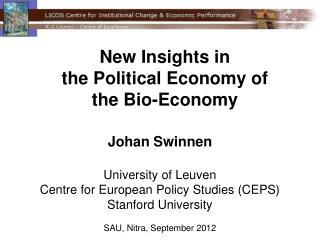New Insights in  the Political Economy of  the Bio-Economy