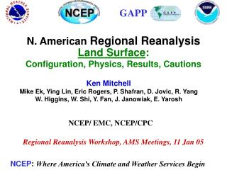 N. American  Regional Reanalysis Land Surface : Configuration, Physics, Results, Cautions