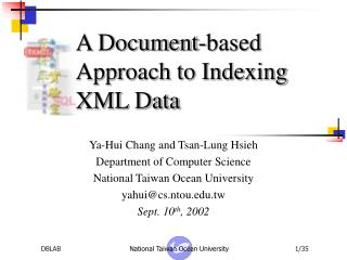 A Document-based Approach to Indexing XML Data
