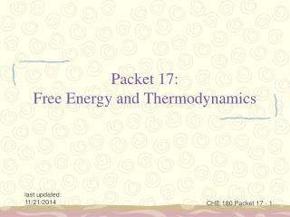 Packet 17: Free Energy and Thermodynamics