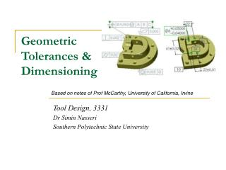 Geometric Tolerances & Dimensioning