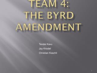 byrd amendment The short, unhappy life of the byrd amendment tudor n rus in 2000, congress enacted the continued dumping and subsidy offset.