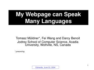 My Webpage can Speak Many Languages