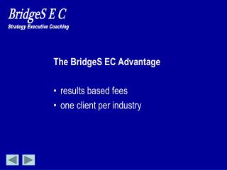 The BridgeS EC Advantage results based fees one client per industry