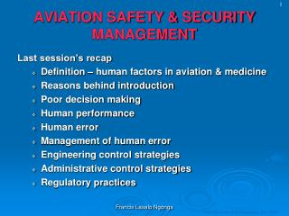 AVIATION SAFETY & SECURITY MANAGEMENT