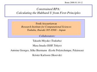 Constrained RPA: Calculating the Hubbard U from First-Principles
